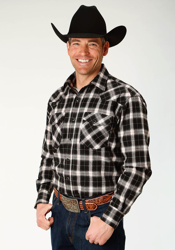 MENS BLACK AND CREAM PLAID LONG SLEEVE SNAP WESTERN SHIRT TALL FIT