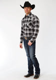 MENS BLACK AND GREY PLAID LONG SLEEVE WESTERN SNAP SHIRT TALL FIT