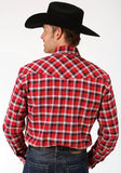 MENS RED NAVY AND WHITE PLAID LONG SLEEVE WESTERN SNAP SHIRT TALL FIT