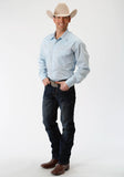 MENS BLUE SOLID LONG SLEEVE WESTERN SNAP SHIRT TALL FIT