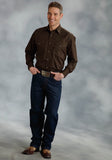 MENS BROWN SOLID LONG SLEEVE WESTERN SNAP SHIRT TALL FIT
