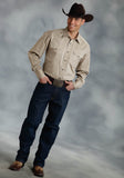 MENS KHAKI SOLID LONG SLEEVE WESTERN SNAP SHIRT TALL FIT