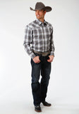 MENS GREY WHITE AND TEAL PLAID LONG SLEEVE WESTERN SNAP SHIRT TALL FIT