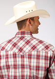 MENS RED WHITE AND BLUE PLAID LONG SLEEVE SNAP WESTERN SHIRT TALL FIT