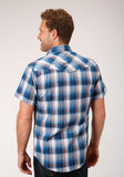 MENS BLUE WHITE AND RED PLAID SHORT SLEEVE SNAP WESTERN WESTERN
