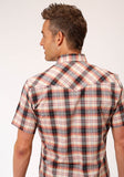 MENS BROWN WHITE AND ORANGE PLAID SHORT SLEEVE SNAP WESTERN WESTERN