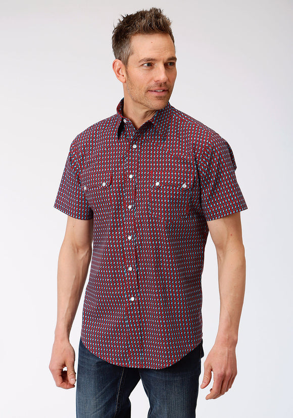MENS RED WHITE AND BLACK GEO PRINT SHORT SLEEVE SNAP WESTERN WESTERN