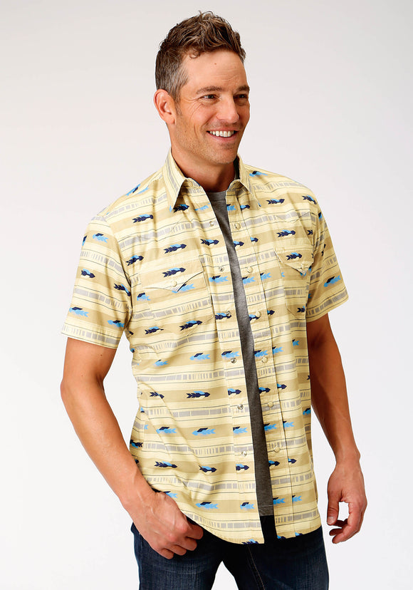 MENS YELLOW AZTEC ARROW PRINT WESTERN SHORT SLEEVE SNAP SHIRT