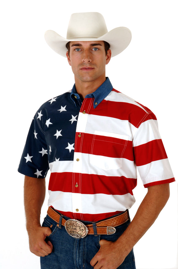 MENS RED WHITE AND BLUE STARS AND STRIPES PIECED AMERICAN FLAG SHORT SLEEVE WESTERN SNAP SHIRT