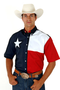 MENS RED WHITE AND BLUE PIECED TEXAS FLAG SHORT SLEEVE WESTERN SNAP SHIRT