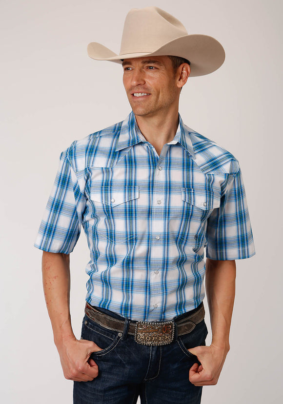 MENS BLUE AND WHITE PLAID SHORT SLEEVE SNAP WESTERN WESTERN