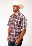MENS RED WHITE AND BLACK PLAID SHORT SLEEVE SNAP WESTERN WESTERN