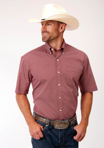 MENS RED AND WHITE FOULARD PRINT SHORT SLEEVE WESTERN BUTTON SHIRT