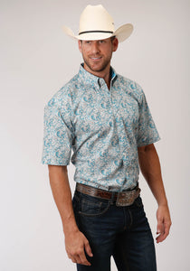 MENS TURQOUISE PAISLEY PRINT SHORT SLEEVE WESTERN BUTTON SHIRT
