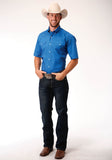 MENS ROYAL BLUE SOLID POPLIN SHORT SLEEVE WESTERN BUTTON SHIRT