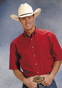 MENS RED SOLID SHORT SLEEVE WESTERN BUTTON SHIRT