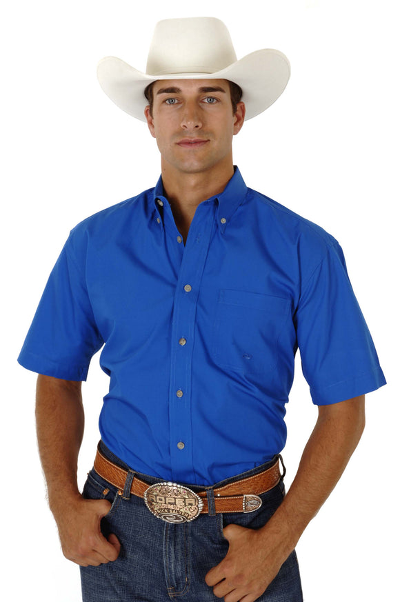 MENS ROYAL BLUE SOLID SHORT SLEEVE WESTERN BUTTON SHIRT