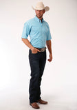 MENS TURQUOISE AND WHITE MINI CHECK SHORT SLEEVE WESTERN BUTTON SHIRT
