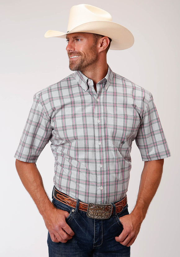 MENS GRAY RED AND BLACK PLAID SHORT SLEEVE WESTERN BUTTON SHIRT