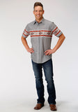 MENS SERAPE BORDER PRINT SHORT SLEEVE SNAP WESTERN SHIRT