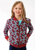 GIRLS RED PRINTED HORSES  ZIP FRONT JACKET