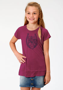 GIRLS PURPLE SOLID WITH SCREEN PRINT KNIT SHIRT