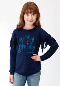 GIRLS NAVY BLUE SOLID WITH SCREEN PRINT KNIT SHIRT