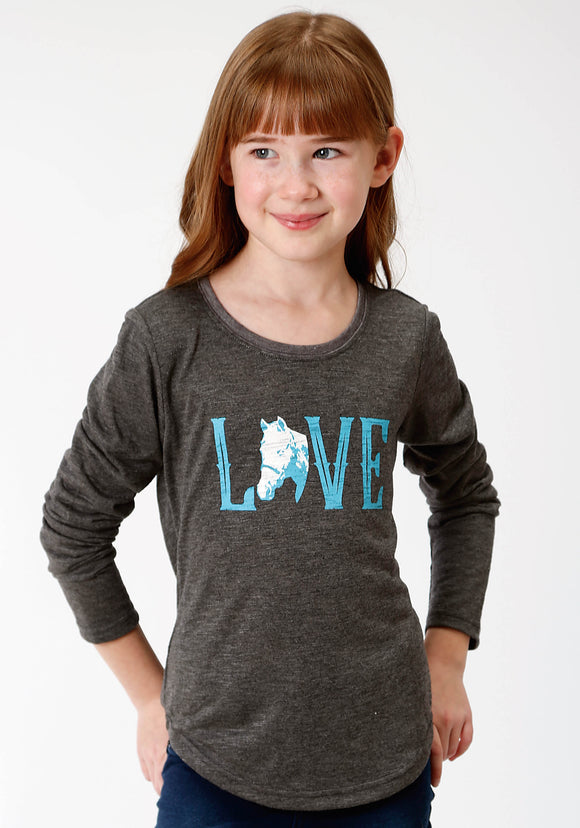 GIRLS GREY SOLID WITH SCREEN PRINT KNIT SHIRT