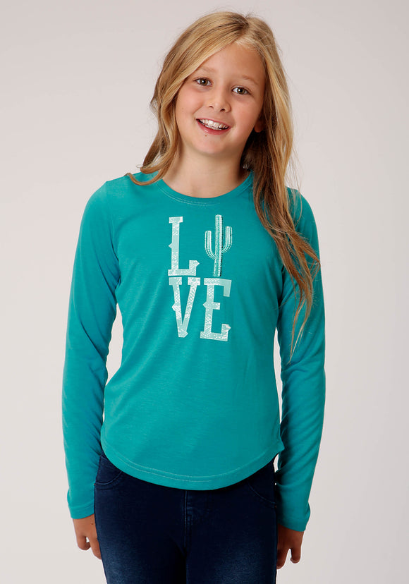 GIRLS TURQUOISE WITH LOVE SCREEN PRINT LONG SLEEVE KNIT T-SHIRT