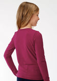 WOMENS RED  LONG SLEEVE KNIT TOP