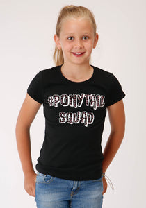 GIRLS BLACK WITH PONYTAIL SQUAD SCREEN PRINT SHORT SLEEVE KNIT T-SHIRT