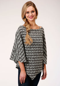 WOMENS BLACK AND WHITE STRIPE OPEN KNIT PONCHO SWEATER