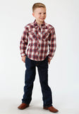 BOYS RED AND WHITE PLAID LONG SLEEVE WESTERN SNAP SHIRT