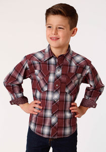 BOYS RED WHITE AND BLACK PLAID LONG SLEEVE WESTERN SNAP SHIRT