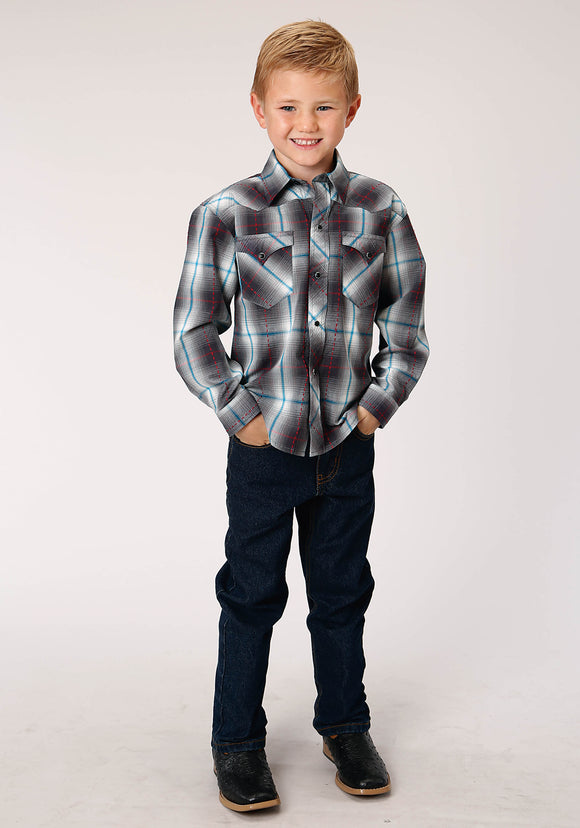 BOYS BLACK WHITE AND BLUE PLAID LONG SLEEVE SNAP WESTERN SHIRT