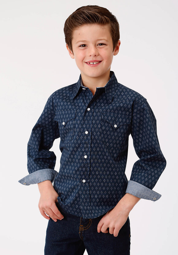 BOYS LONG SLEEVE SNAP WESTERN SHIRT WEST MADE COLLECTION DIAMOND STAMP