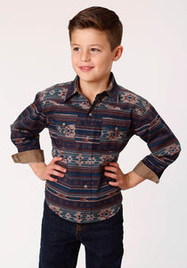 BOYS MULTICOLORED CLOUDY SUNSET PRINT LONG SLEEVE WESTERN SNAP SHIRT