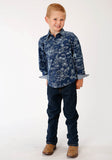 BOYS BLUE AND WHITE TROPICS PRINT LONG SLEEVE SNAP WESTERN SHIRT