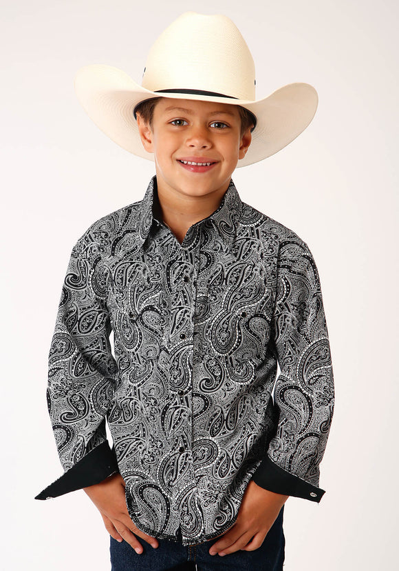 BOYS BLACK AND WHITE PAISLEY PRINT LONG SLEEVE SNAP WESTERN SHIRT