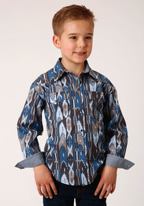 BOYS BLUE GROUND MULTICOLORED AZTEC PRINT LONG SLEEVE SNAP WESTERN SHIRT