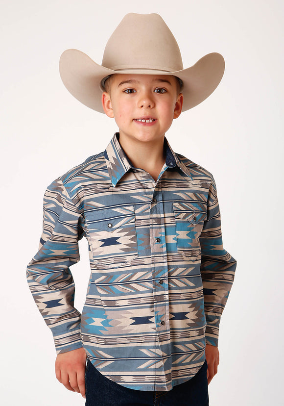 BOYS TURQUOISE TAN AND BLUE AZTEC PRINT LONG SLEEVE SNAP WESTERN SHIRT