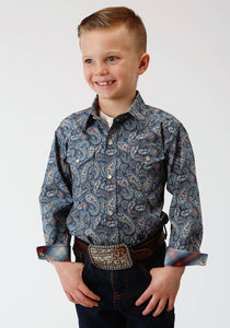 BOYS BLUE PAISLEY PRINT LONG SLEEVE WESTERN SNAP SHIRT