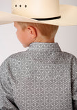 BOYS GRAY AND WHITE MEDALLION PRINT LONG SLEEVE SNAP WESTERN SHIRT