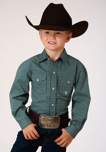 BOYS GREEN AND WHITE GEO PRINT LONG SLEEVE SNAP WESTERN SHIRT