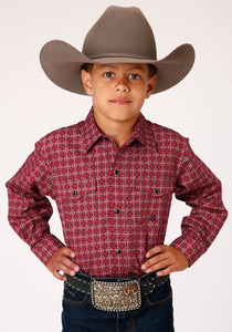 BOYS RED AND WHITE FOULARD PRINT LONG SLEEVE SNAP WESTERN SHIRT
