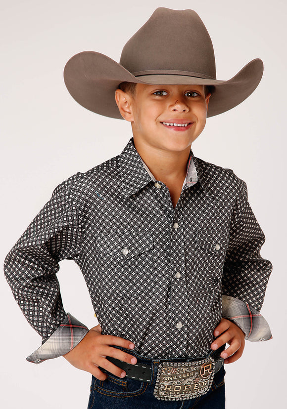 BOYS GRAY BLACK AND WHITE GEO PRINT LONG SLEEVE SNAP WESTERN SHIRT