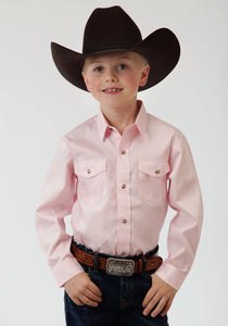 BOYS PINK SOLID LONG SLEEVE WESTERN SNAP SHIRT