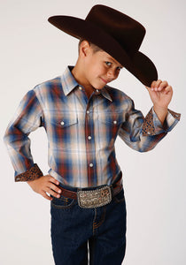 BOYS BROWN BLUE AND WHITE PLAID LONG SLEEVE SNAP WESTERN SHIRT