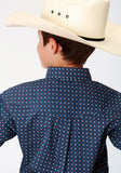 BOYS BLUE AND WHITE FOULARD PRINT LONG SLEEVE BUTTON WESTERN SHIRT