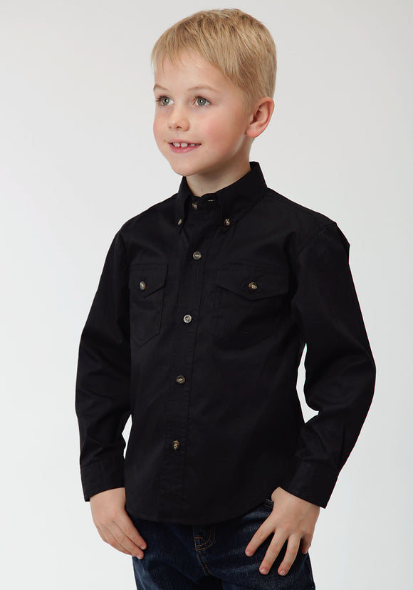 BOYS BLACK SOLID LONG SLEEVE WESTERN BUTTON SHIRT